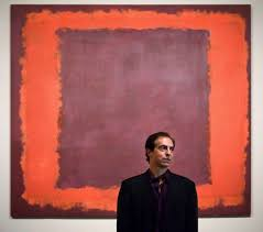 christopher rothko stands in front of a piece painted by his father mark rothko at