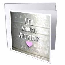 3drose 10th wedding anniversary gift tin celebrating 10 years together tenth anniversaries ten yrs greeting cards 6 x 6 inches set of 12