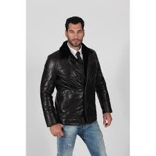 men s black padded and quilted fur lining real leather jacket