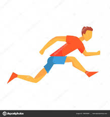 Man Sprinting On Short Distance Male Sportsman Running The Track In