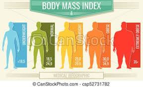 Man Body Mass Index Vector Fitness Bmi Chart With Male Silhouettes And Scale