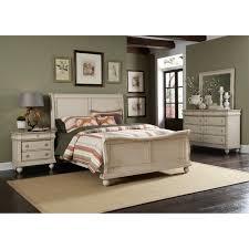 Sleigh Bed Bedroom Furniture Sleigh Bed Frame Coastal White Head Foot Board Bedroom Furniture