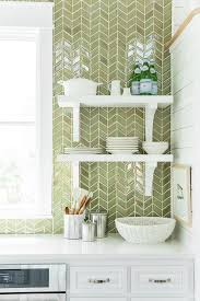 green herringbone tiles backsplash by ann sacks