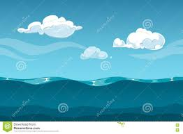 Background For Computer Sea Or Ocean Cartoon Landscape With Sky And Clouds Seamless Water