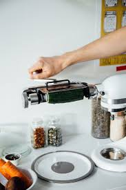 kitchenaid vegetable sheet cutter. for her pickled veggie sandwiches, oh, ladycakes opts the thin blade on kitchenaid vegetable sheet cutter