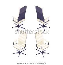 isometric office furniture vector collection. Isometric Computer Chair Isolated On White Background. 3d Armchair, Front View And Rear Office Furniture Vector Collection