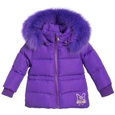 moschino baby baby girls purple down padded fur trim jacket childrensalon