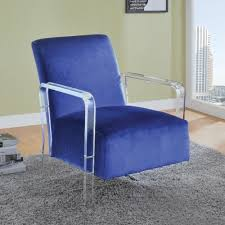blue velvet accent chair. Modern Blue Velvet Accent Chair With Clear Arms 903815