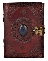 com leather journal with semi precious stone buckle closure leather diary gift for him her office products