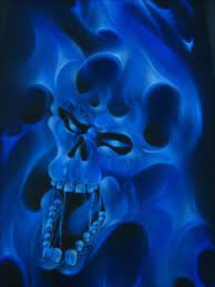 blue skulls skull wallpaper flame art