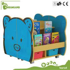 cartoon kindergarten design wooden bookshelf