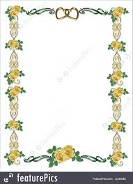 Templates Yellow Roses Wedding Border Stock Illustration