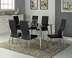 full size of kitchen black glass rectangle 6 seater dining table set with 6 faux