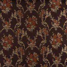 Floral Brocade A0014b Brown Gold Persimmon Ivory Floral Brocade Upholstery Fabric