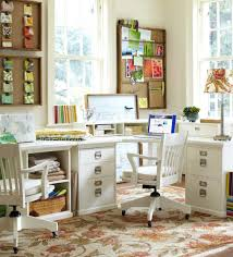 pottery barn office desk. Classic Office Room Design With Pottery Barn Corner Organization, Brushed Metal Hardware Finish, And Beige Floral Desk