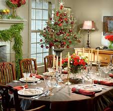 Decorations:Christmas Dining Table With Brown Table Cloth In Oval Shape  With Central Grape Decoration