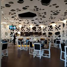 funky style furniture. Unique Coffee Shop Interior Design Ideas With Black And White Furniture Style Funky Ceiling