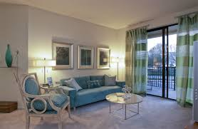... Living room, Pretty Blue Seating With Round Table Near Cute Ceiling  Curtains In Traditional Apartment ...