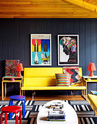 colorful living room. fascinating colorful living room interior design with yellow bench seat and oval shape white coffee table ideas