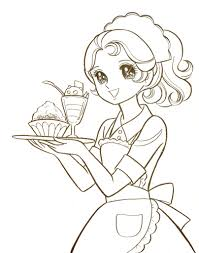Small Picture Manga coloring pages waitress ColoringStar