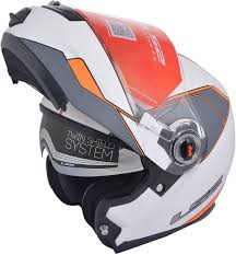 Ls2 Helmet Ff386 Midnight Flip Up Matt White Orange Xl