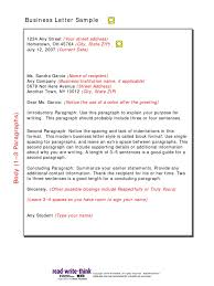 Business Letter Samples 5 Paragraph Address Geography