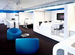 Modern Blue White Office Interior Furniture Set On Dark