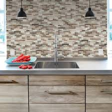 6 pack diy l n stick self adhesive mosaic kitchen wall tile brown