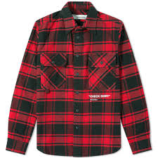 off white printed checked cotton blend flannel overshirt in red