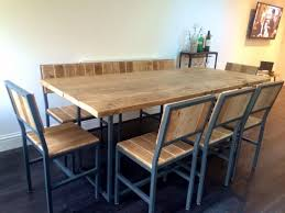 industrial style furniture. Dining Table Set With Chairs And Bench - Wood \u0026 Steel Industrial Reclaimed Style Furniture