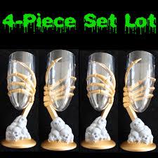gothic zombie gold skeleton hand goblets flute drink glass set 4
