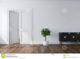 Image Dark Brown Empty Room Interior With White Walls Dark Wooden Floor Cabinet Potted Tree And An Open Double Door Concept Of New Home Or An Office Dreamstimecom Empty Room With An Open Door Closet Stock Illustration