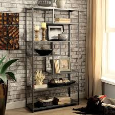 industrial metal furniture. Furniture Of America Logan Industrial Metal Dark Grey Tiered Bookshelf U