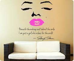 wall decals marilyn monroe wall decal decor quote face pink lips makeup  wall decal decor quote