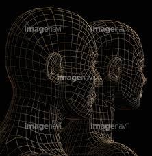 イラストcg バックグラウンド 幾何学模様図形 人型の画像素材
