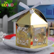 Elephant Design Gifts Us 13 65 Metallic Gold Elephant Design Laser Cutting Wedding Candy Box Gifts For Guests Wedding Favors And Gifts Party Decorations In Gift Bags