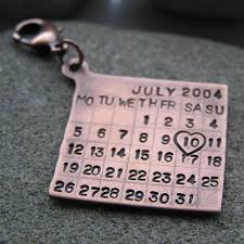 personalised key ring date calendar charm solid copper great for 7th rings gifts anniversary and anniversary gifts