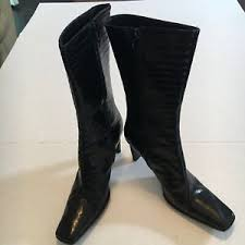 Details About Charles David Nathalie M Women Mid Calf Black Crocodile Leather Boots Zip Up 8