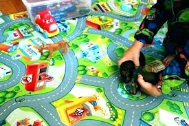 large road rug play with roads train track mat city car childrens
