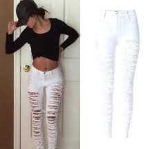 holey jeans womens fashion army green black white y ripped women plus size distressed high waist holey jeans womens