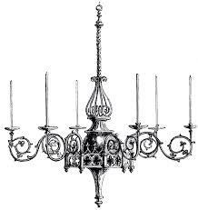 vintage gothic chandelier image corner border clip art