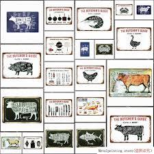 butchery vintage metal guide signs cut