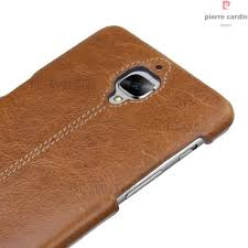 pierre cardin for oneplus 3 3t genuine leather coated pc back case brown