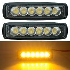6 Inch Led Work Light 2pcs Amber 6 Inch Mini Size 18w Yellow Led Work Light