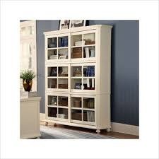 furniture white wooden book cabinet using sliding glass door and