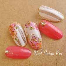 Nail Salon Piuさんのネイルデザイン ストライプ フラワー 夏