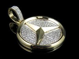 men s 10k yellow gold mercedes medallion genuine diamond pendant charm 1 0ct 686907170895