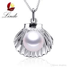 whole wedding jewelry high quality genuine pearl pendant trendy 925 silver shell pendant necklace with gift box handmade jewelry charm necklace from
