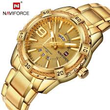 <b>NAVIFORCE Top</b> Luxury <b>Brand Men</b> Watches Golden <b>Male</b> Clock ...