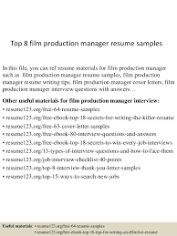 film resume samples top 8 film production manager resume samples 1 638 jpg cb 1431582823